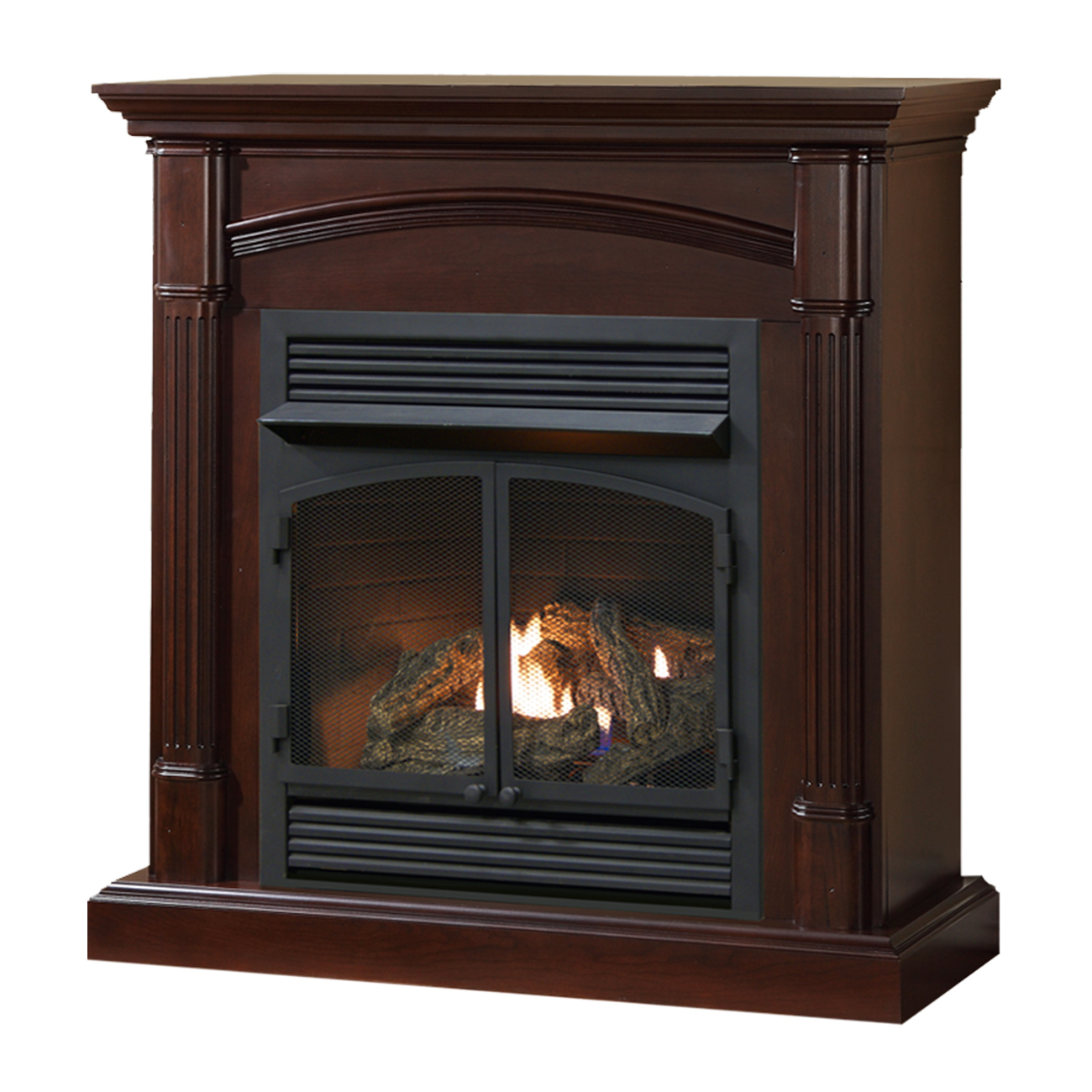 Ventless Fireplace: Ventless Fireplace System Warm Clove Finish 32,000 BTU