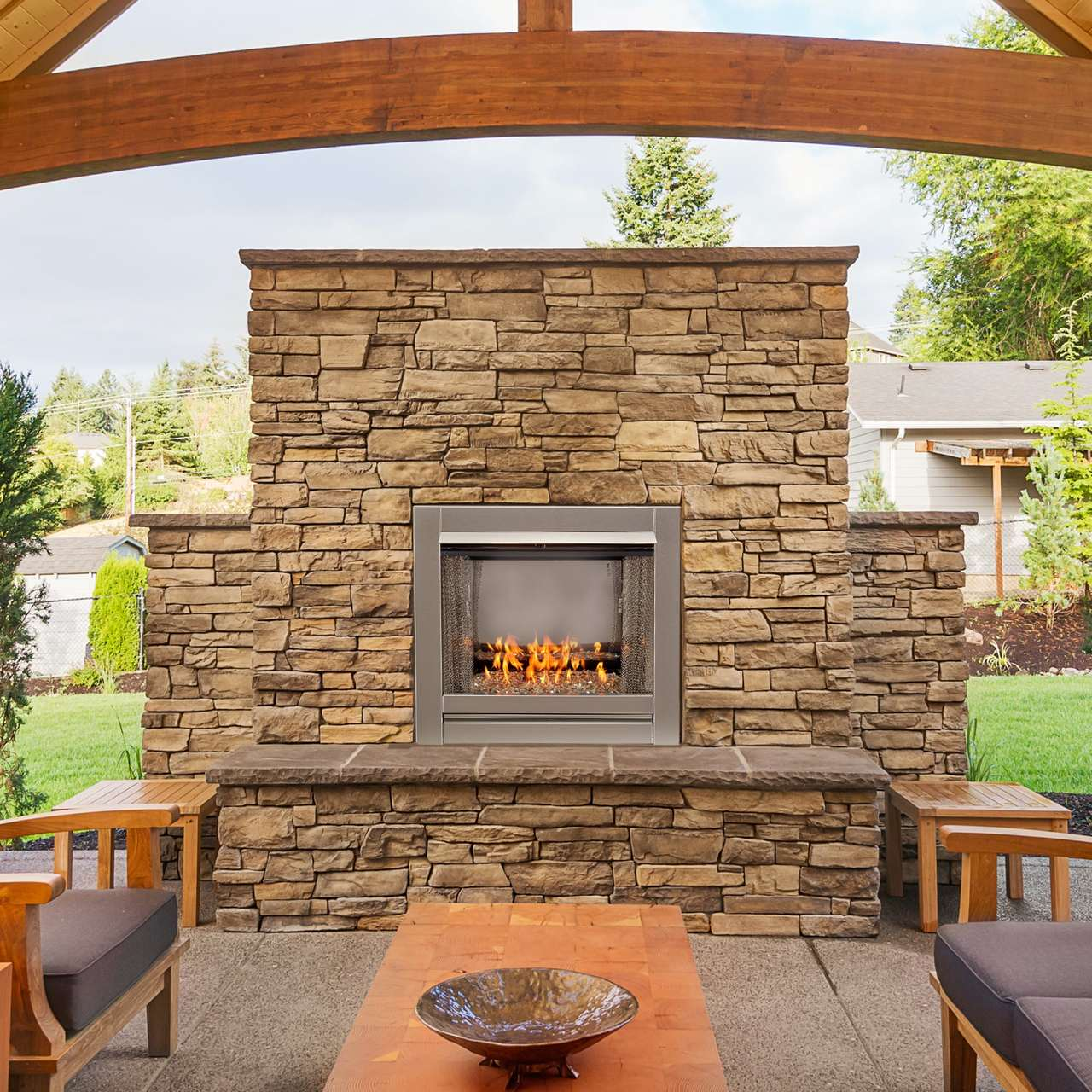 Duluth Forge Vent Free Stainless Outdoor Gas Fireplace ...