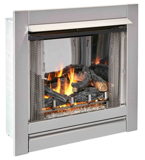 Duluth Forge Ventless Stainless Outdoor Gas Fireplace Insert With Glass Media and Log Set - 24,000 BTU, Manual Control