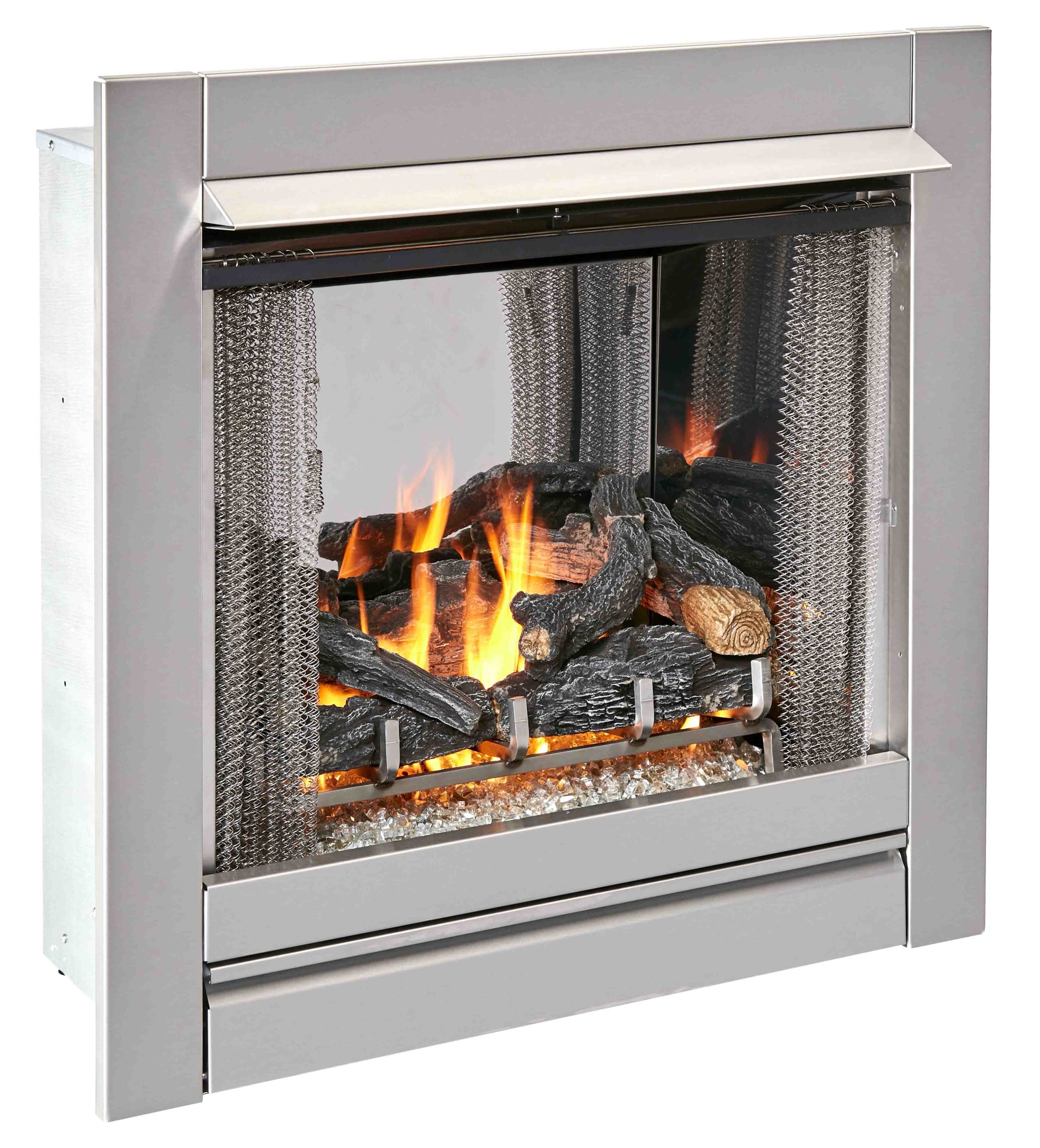Duluth Forge Ventless Stainless Outdoor Gas Fireplace Insert With Glass Media and Log Set ...